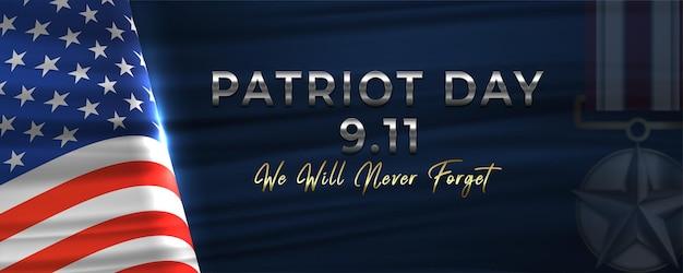 9.11 banner orizzontale del giorno del patriota con l'icona della medaglia del premio