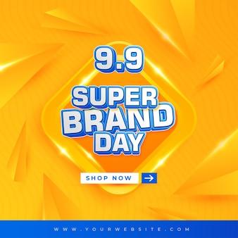 9 9 design di sfondo astratto del giorno del super marchio e testo modificabile