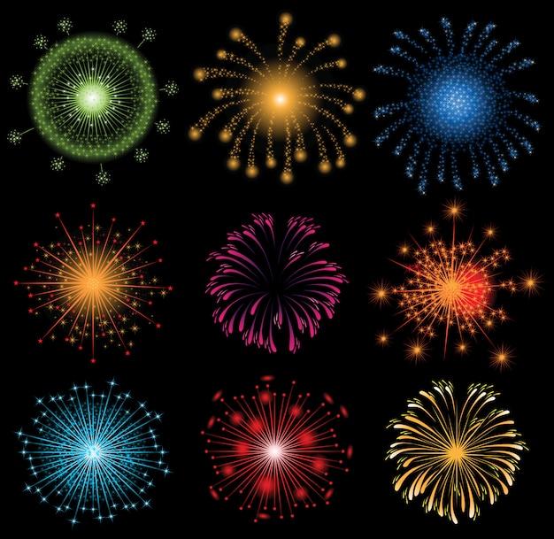 9 fuochi d'artificio luminosi