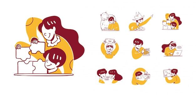 9 business and finance icon illustration in outline hand drawn design style. uomo, donna risolvendo puzzle, analizzare, aumentare, diminuire, toro, mercato orso, abaco, lavoro, laptop, discutere, grafico