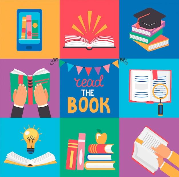 9 icone con concetti di libro