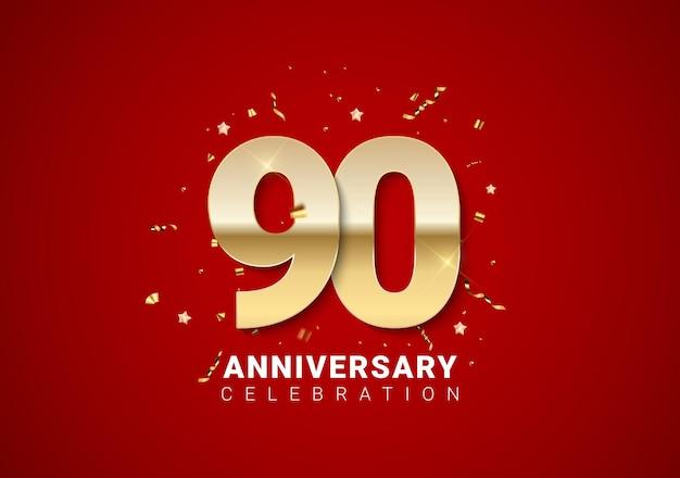 Sfondo di 90 anni con numeri d'oro, coriandoli, stelle su sfondo rosso brillante per le vacanze. illustrazione vettoriale eps10