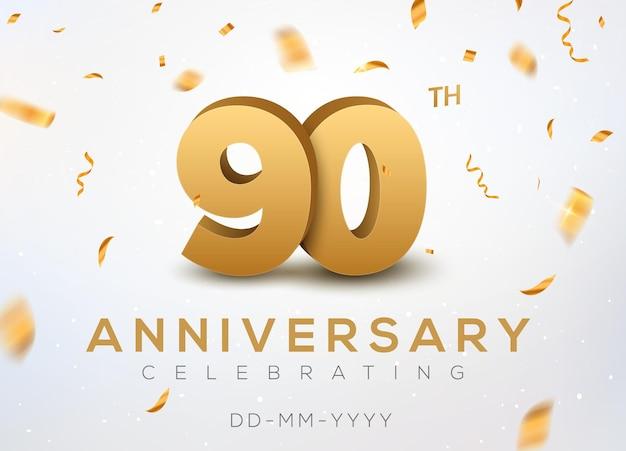 Numeri d'oro del 90 ° anniversario con coriandoli dorati. celebrazione del 90° anniversario