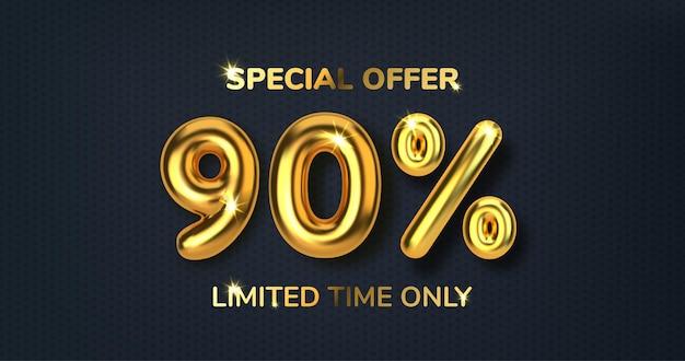 90 di sconto sulla vendita di promozione fatta di palloncini d'oro 3d realistici numero sotto forma di palloncini dorati