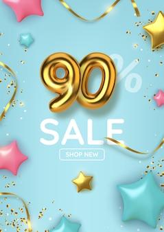 90 di sconto sulla vendita di promozione fatta di palloncini d'oro realistici con stelle