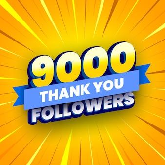 Banner di 9000 seguaci con nastro blu