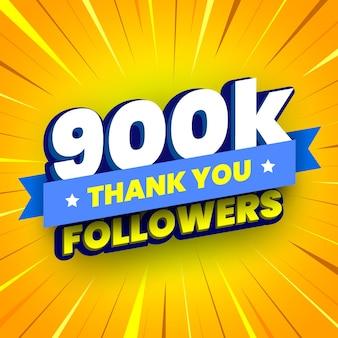 Banner di 900000 seguaci con nastro blu
