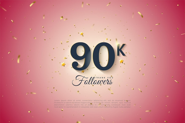 90k follower con sfondo rosa graduato.
