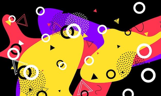 Modello anni '90. elementi liquidi. composizione contemporanea astratta. design grafico nero.