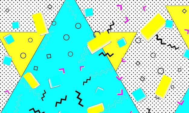 Stampa anni '90. modello triangolo giallo blu. arte moderna funky.
