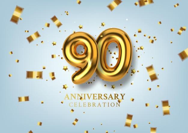 Celebrazione del 90 ° anniversario numero sotto forma di palloncini dorati.