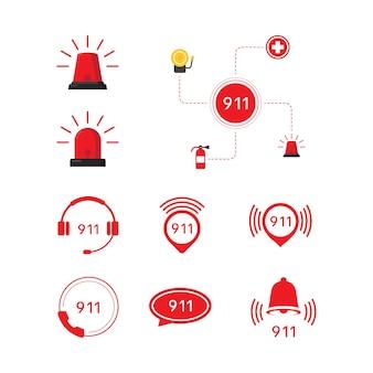 Illustrazione del design dell'icona di vettore di emergenza 911 template