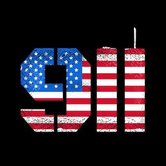 911 patriot day design con bandiera americana e skyline delle torri gemelle del new york world trade center. disegno di illustrazione vettoriale. ricorda il concetto di attacco del 911, 11 settembre