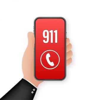 Smartphone 911 in grande stile. icona di chiamata. mano che tiene smartphone. primo soccorso. touch screen a dito. illustrazione