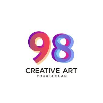 98 numero logo design sfumato colorato