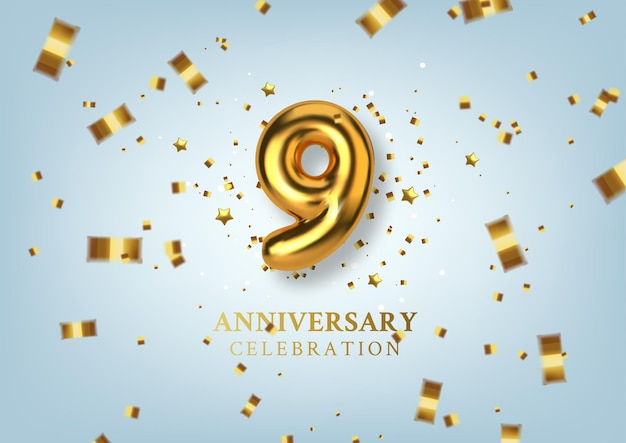 Celebrazione del 9 ° anniversario numero sotto forma di palloncini dorati.