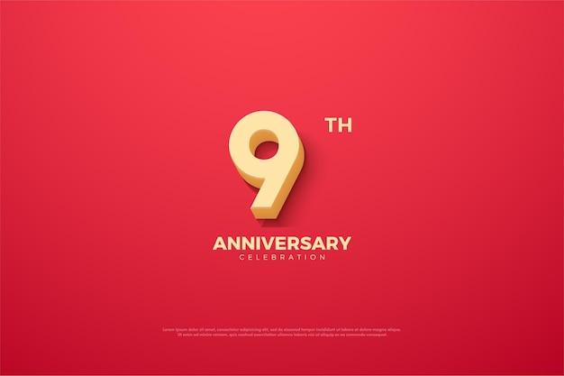 9 ° anniversario con numero animato.