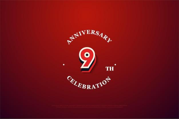 9 ° anniversario con numeri di graffiti moderni.