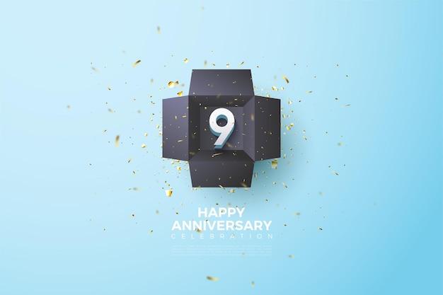 9 ° anniversario con numero in una scatola nera aperta.