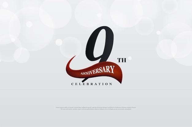 9 ° anniversario con illustrazione rossa curva davanti ai numeri.
