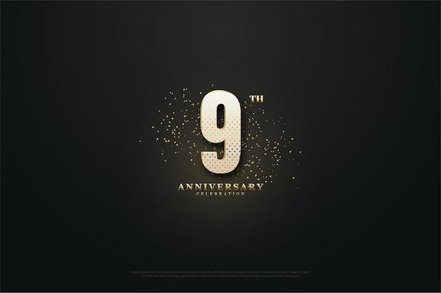 9 ° anniversario con numeri brillanti e decorato con glitter.