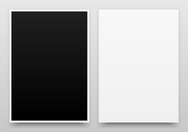 Modello realistico di poster in bianco e nero a2 con ombra realistica e sfondo chiaro
