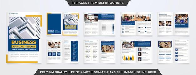 Modello di brochure aziendale bifold a4 con layout minimalista e pulito
