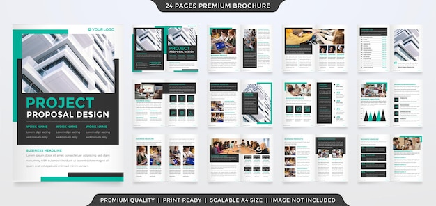 Modello di brochure aziendale a4 con layout minimalista e moderno