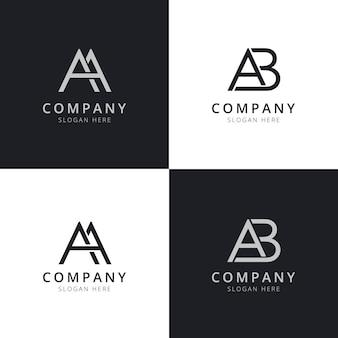 Modelli di logo iniziale di lettera aa ab