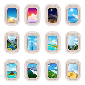 Finestra dell'aeroplano che viaggia in aereo e vista dell'oblò in volo insieme turismo illustrazione del vetro nel trasporto aereo e aereo su sfondo bianco