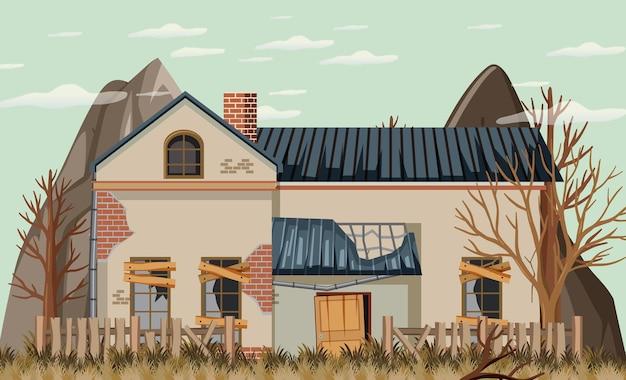 Abbandonare la casa boken in background rurale