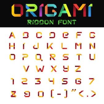 Alfabeto abc origami paper ribbon font. lettere e numeri.