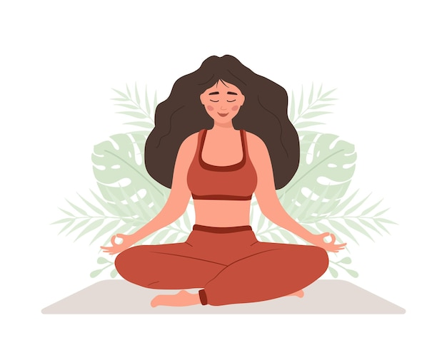 Respirazione addominale. donna che pratica la respirazione del ventre per un buon relax.
