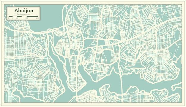Mappa della città di abidjan in costa d'avorio in stile retrò. mappa di contorno. illustrazione di vettore.