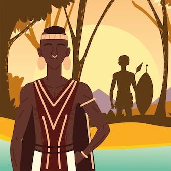 Uomini aborigeni cacciatori nella foresta