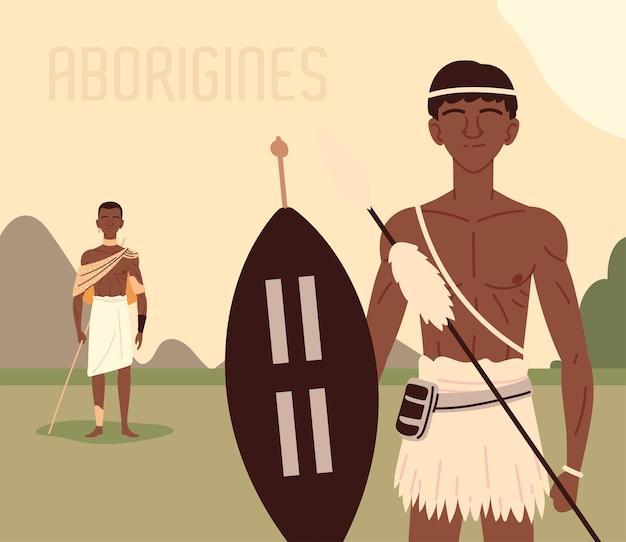 Uomini aborigeni nella terra
