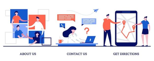 Chi siamo, contattaci, ottieni indicazioni stradali. set di informazioni sull'azienda, menu del sito web, pagina web iniziale