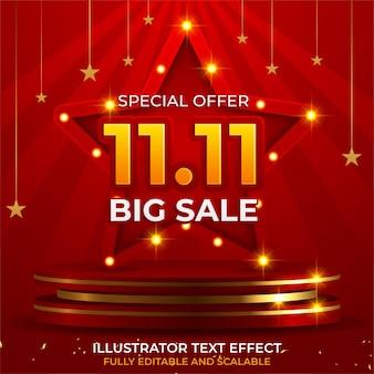 Banner di vendita 11.11 astratto con singles day per offerte speciali