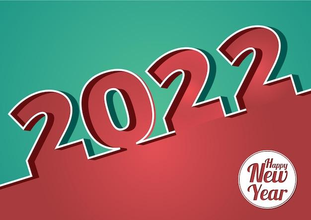 Banner di felice anno nuovo astratto 2022 in stile papercut