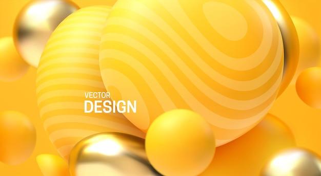 Fondo astratto 3d con bolle dorate e gialle di rimbalzo