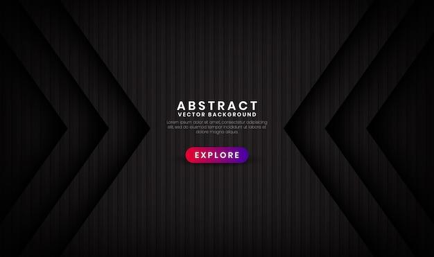 Il fondo nero astratto 3d si sovrappone agli strati con i modelli delle strisce