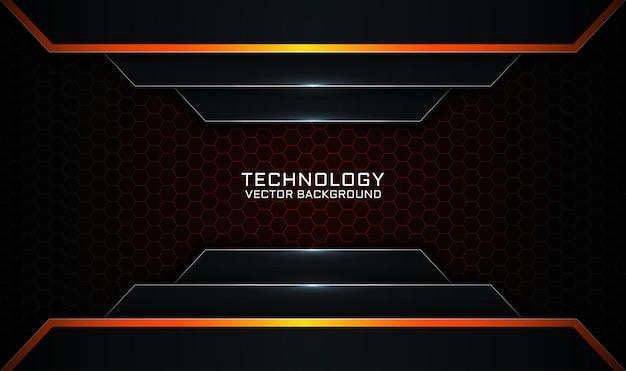 Strato di sovrapposizione di sfondo astratto tecnologia 3d nero e arancione con effetto linee chiare