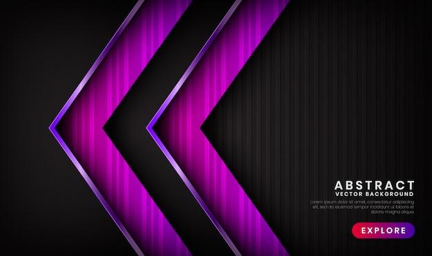 Sfondo di lusso nero e viola astratto 3d con effetto lucido