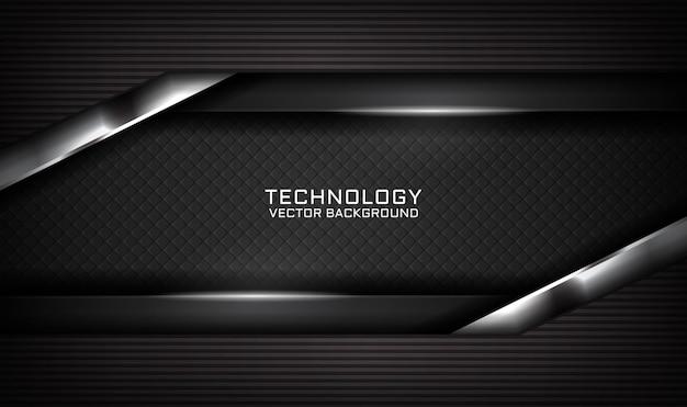 Fondo nero astratto di tecnologia 3d con effetto della luce sul buio