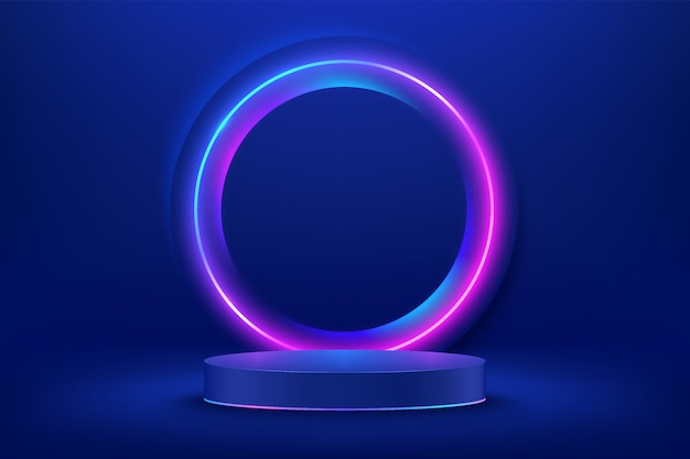 Podio astratto 3d con piedistallo cilindro blu con illuminazione al neon incandescente cerchio rosso e blu