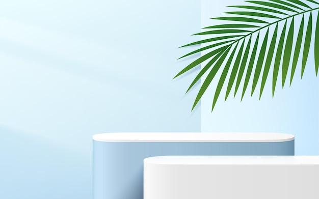 Podio della piattaforma del cubo d'angolo rotondo blu e bianco astratto 3d con illuminazione della finestra e foglia di palma
