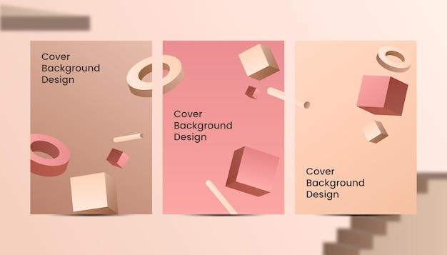 Abstract 3d marrone oro sfumato a4 copertina di lusso design di sfondo.