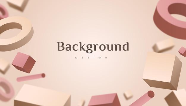 Abstract 3d forma geometrica marrone oro gradiente sfondo di lusso design.