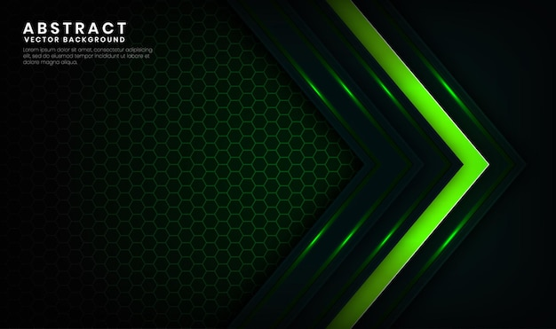 Strato di sovrapposizione di sfondo astratto tecnologia verde 3d con decorazione effetto linee chiare