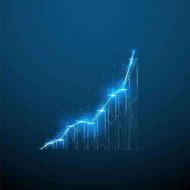 Grafico di crescita 3d astratto in blu scuro concetto di analisi finanziaria aziendale arte vettoriale digitale